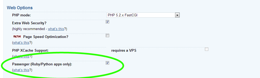 Passenger Checkbox in Dreamhost